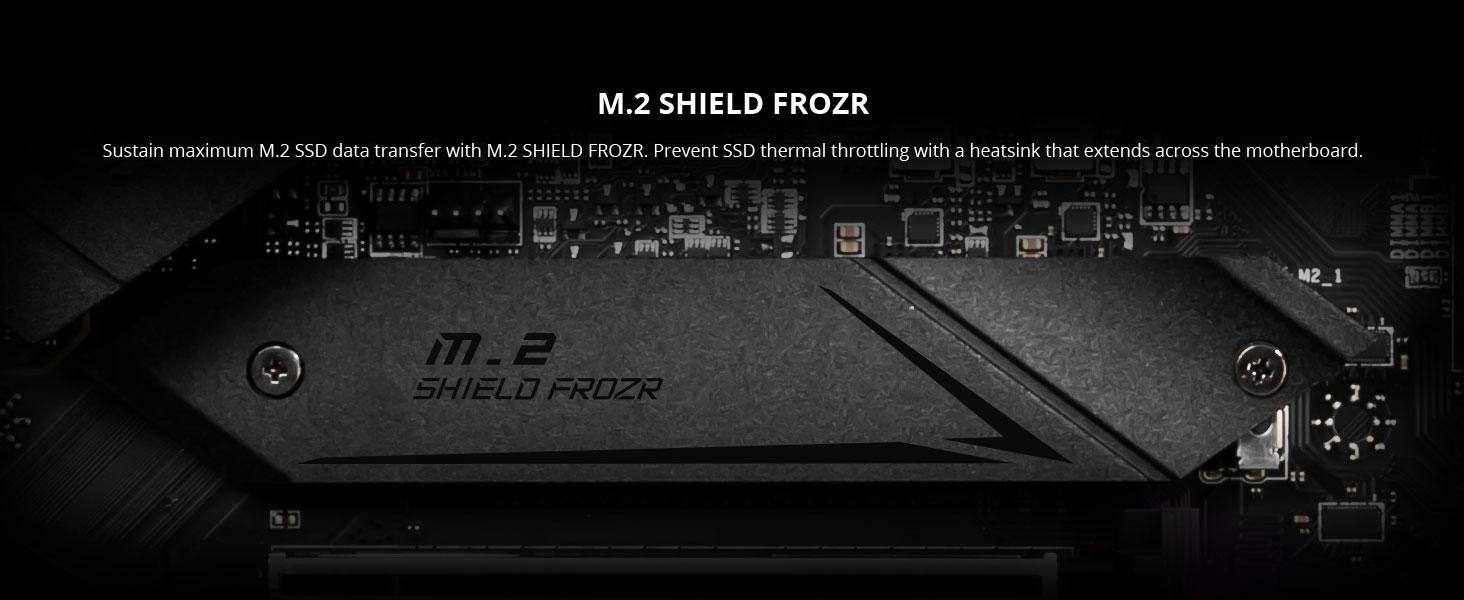 msi, mpg z490 gaming plus, m.2 shield frozr, nvme ssd, heatsink