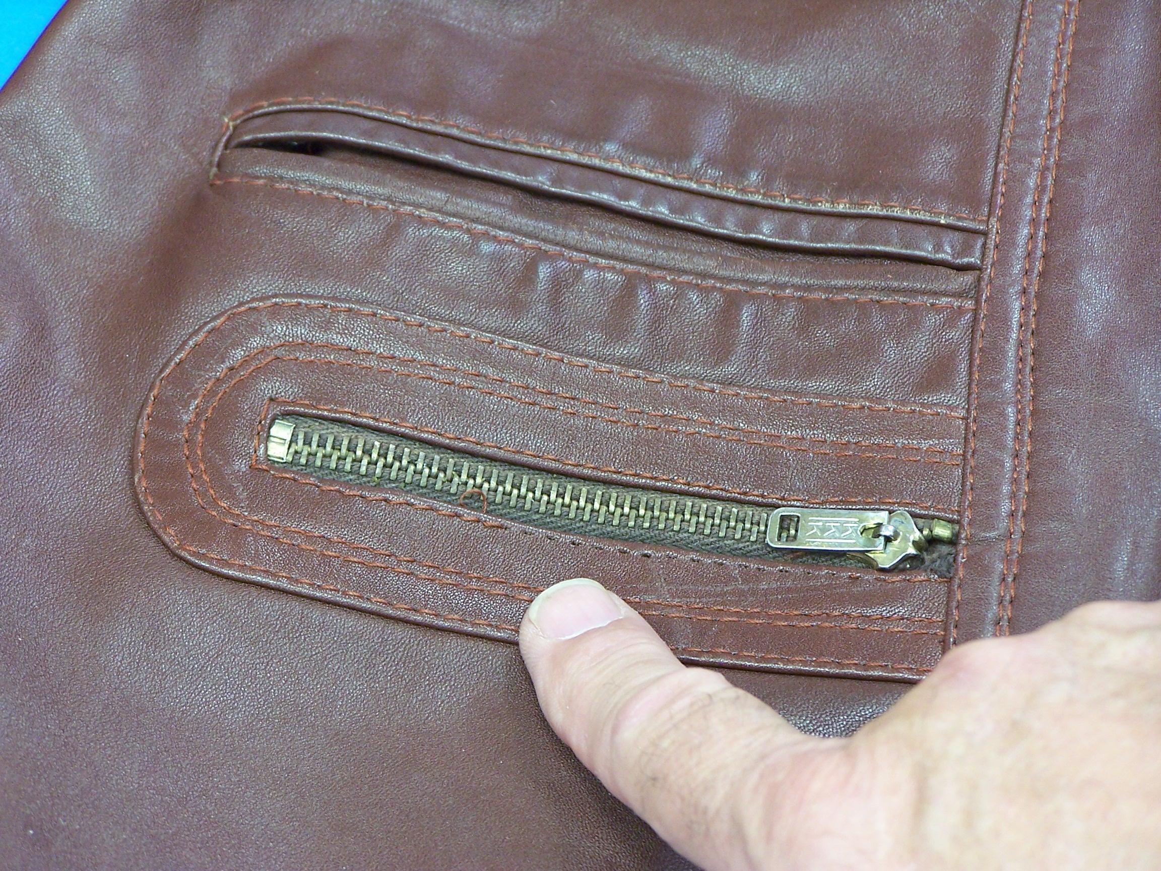 Leather jacket zip repair - View Larger