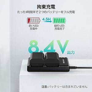 RAVPower バッテリーパック NP-FZ100 充電器 (USB 急速充電) NP-FZ100 など対応