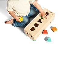 solid wood wooden block set building blocks shape sorter puzzle learning educational toy STEM