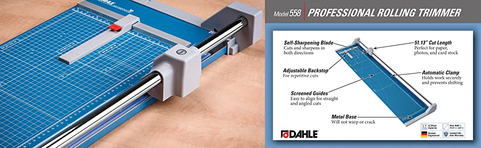 paper cutter, rotary trimmer, rolling trimmer, self sharpening, dahle 558, german engineered
