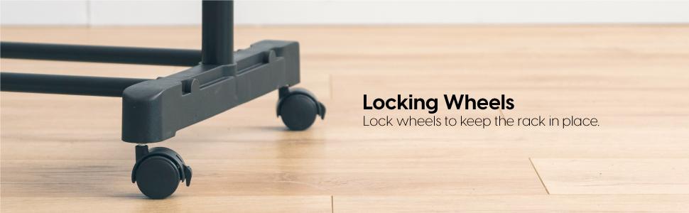 lock wheel, lock wheels, garment rack with wheels, hanger rack with wheels, hanger rack lock wheels