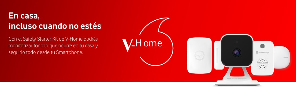 Vodafone V-Home Safety Starter Kit de Samsung - Cámara de video, sensor, sirena y hub para hogar