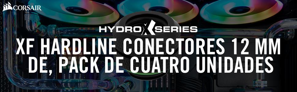 Corsair Hydro X Series, XF Hardline, Conectores 12 mm DE, Pack de 4 Unidades (Las Roscas de BSPP G1/4