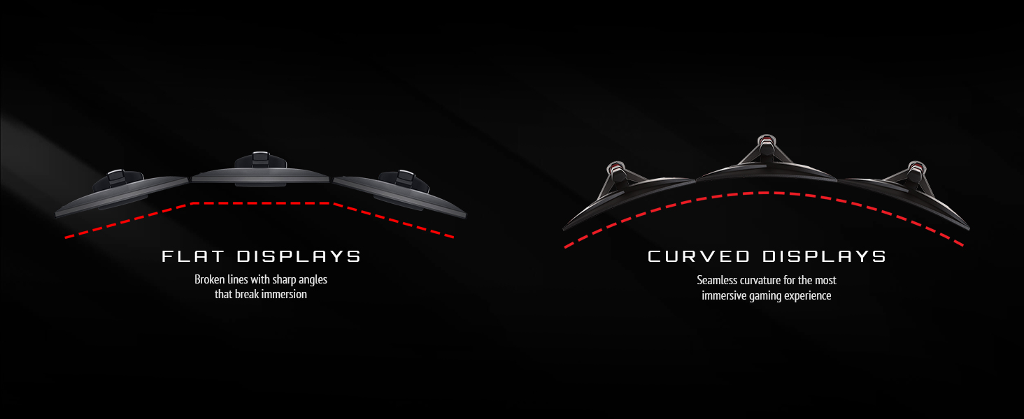 curved displays vs flat displays. seamless curvature for immersive gaming experience