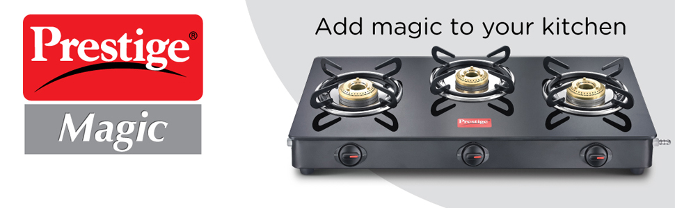 Prestige Magic Glass Top 3 Burner Gas Stove, Manual Ignition, Black SPN-FOR1