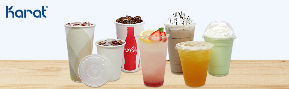 Karat cold cups,cold cup lids,clear cold cups,lids for cold cups,flat lids,dome lids,PET cold cups