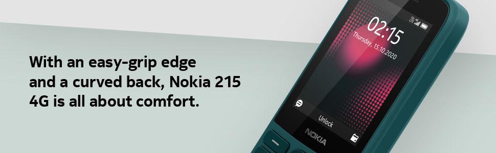 Nokia 215 4G Cyan Green design