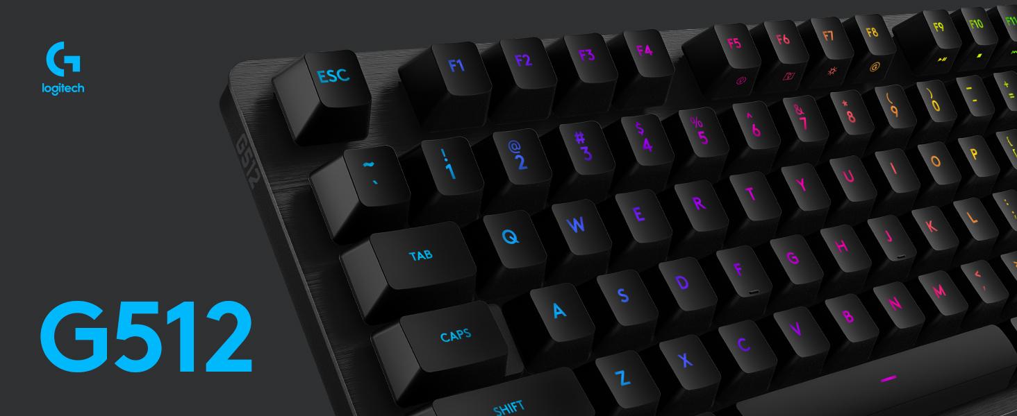 Logitech G512 SE, Clavier Gaming Mécanique, Eclairage RVB LIGHTSYNC, Switchs GX Blue, Alliage Aluminium 5052, Touches de Fonction Complètes, Relais