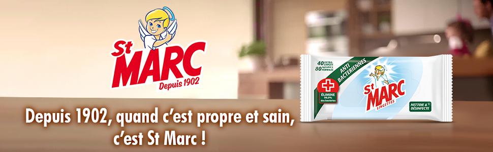 St Marc Lingettes nettoyantes et antibact/ériennes Paquet de 80 Lot de 3