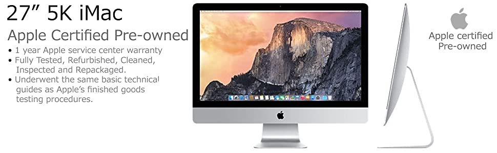 Apple certified pre-owned; apple certified refurbished; MK482LL/a; 5k; retina; apple recertified