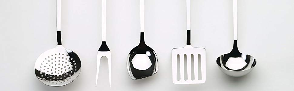Alessi AJM19S5 L Design Küchenbesteck Set, Edelstahl, 5 Stücke