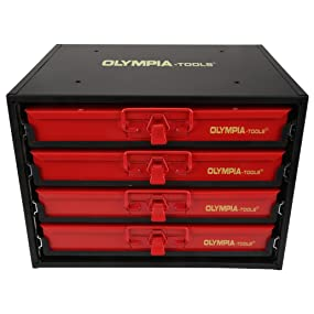 Olympia Tools 90-800 4-Drawer Hardware Organizer, front view.