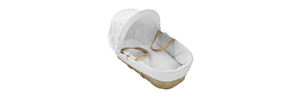 Baby White & Cream Teddy Moses Basket For New Born Baby Girl Boy Nursery Bed Nursery Furniture