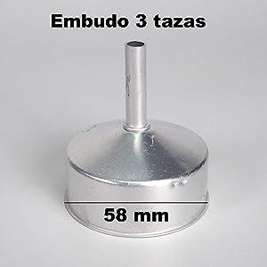 Sanfor Respuesto de Embudo Cafetera Italiana 3 Tazas | Aluminio | Repuesto de Acero Inoxidable | Diámetro 58 mm: Amazon.es: Hogar