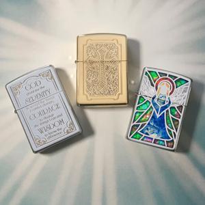 spiritual lighters, high polish brass, satin chrome, faith lighters, fusion, angel , Constantine,