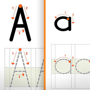 Support upper and lower case practice as well as spacing and writing in straight lines.