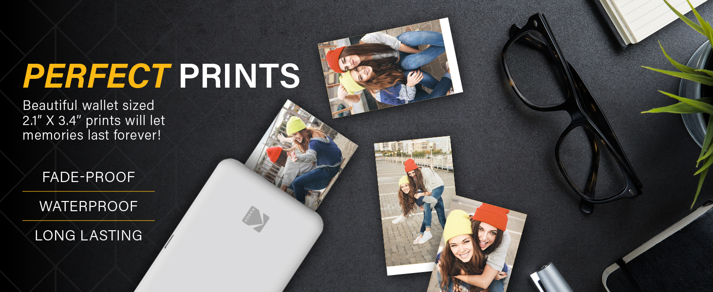 white portable picture photo printer wallet size photos