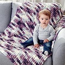 baby blanket hand knitted with bernat blanket ez