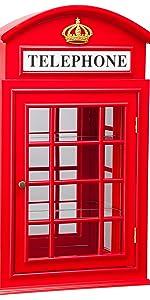 British phone booth curio cabinet, display glass curio cabine cabinet hardware, glass curio cabinets