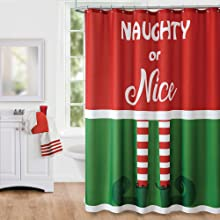 elrene home fashions elf christmas holiday shower curtain