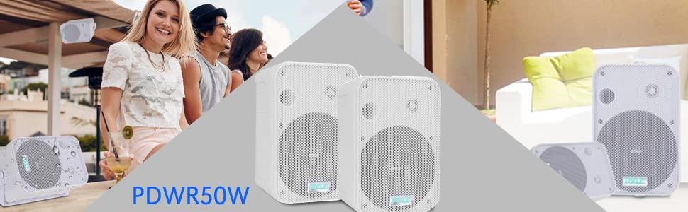 "Pyle PDWR50W Pair of 6.5/"" 500W Indoor//Outdoor Waterproof Speakers White"