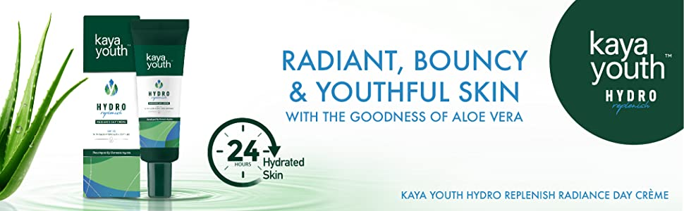 day cream;aloe vera;kaya youth;hydration;radiance; 24 hours;replenish;dermatologists;skin science
