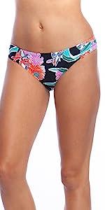 tropical floral print hipster bottom shirred ruched side details cinched black multicolor