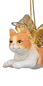 Design Toscano Honor the Feline: Orange Tabby Holiday Cat Angel Ornament