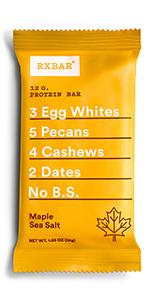 Maple, Sea Salt, protein bar, rxbar, rxbars, protein bars, health bar, protein