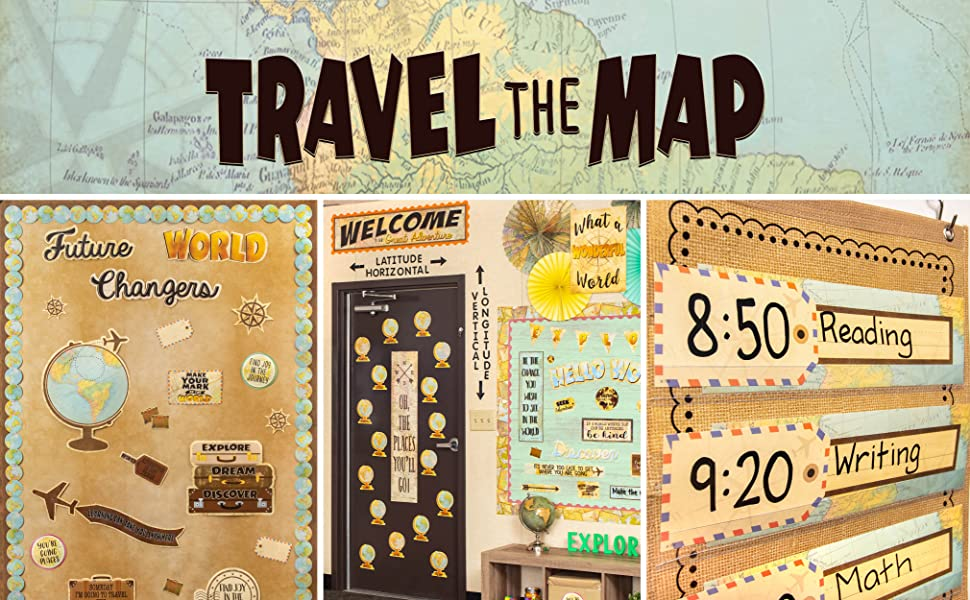 travel the map theme header with classroom photos