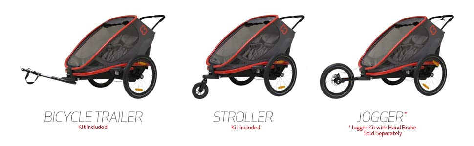 hamax outback child bike trailer, stroller, jogger