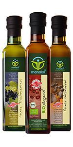 manako Gourmetset: BIO Arganöl geröstet 250ml, Traubenkernöl 250 ml, Walnussöl 250 ml