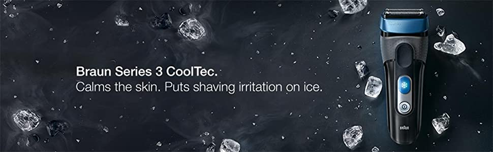 Calms the skin. Puts shaving irritation on ice. Braun Series 3 Cooltec CT4s electric shaver