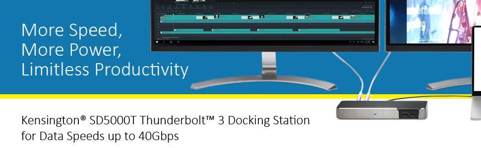 Kensington SD5000T Thunderbolt 3 Docking Station Dual Monitor 4K for  MacBook Pro (K38239US)