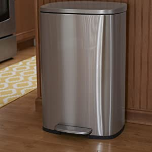 stainless; steel; trash; can;