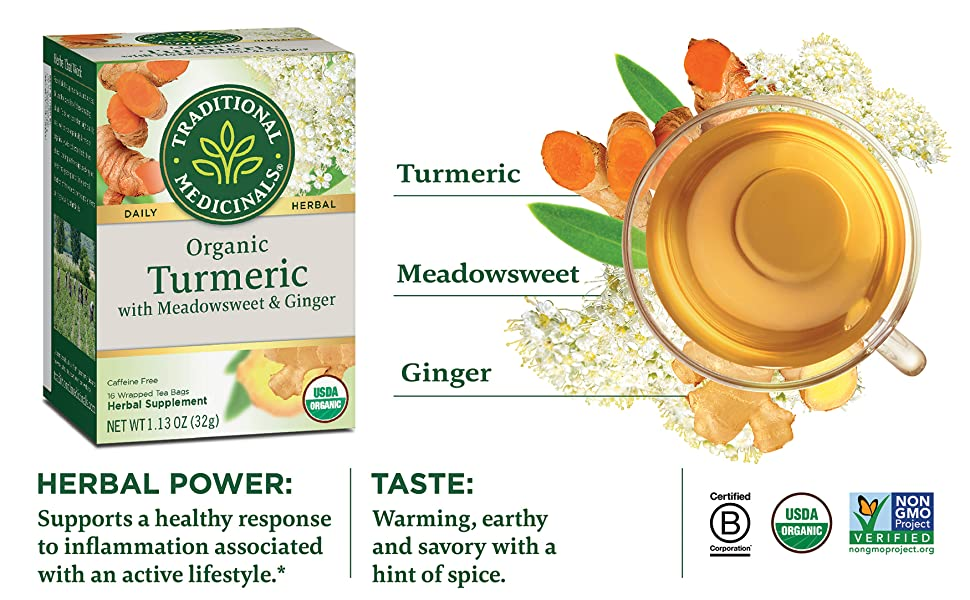 Traditional Medicinals Organic Turmeric with Meadowsweet & Ginger Herbal Tea (Pack of 6), Supports a Healthy Response To Inflammation, 96 Tea Bags Total