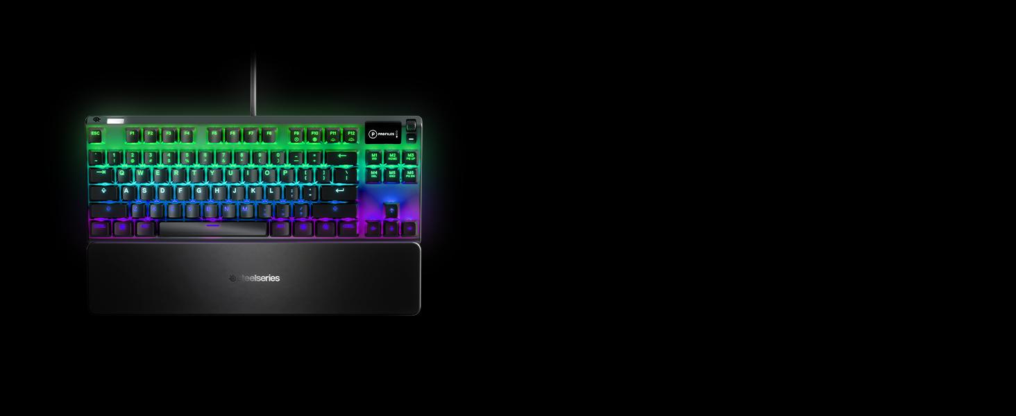 SteelSeries Apex 7 TKL - Teclado mecánico para Gaming, Compacto, Smart Display OLED, Interruptores Rojo - Teclado QWERTY Inglesa (UK)