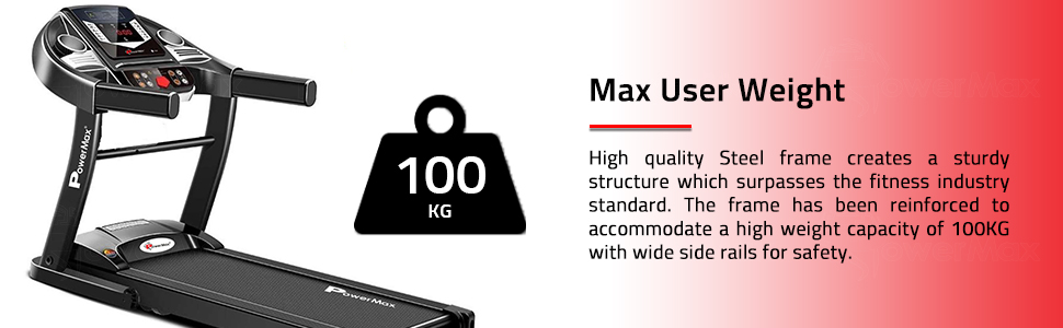 PowerMax Fitness TDM-97 1HP (2HP Peak) Motorized Treadmill with Free Installation Assistance