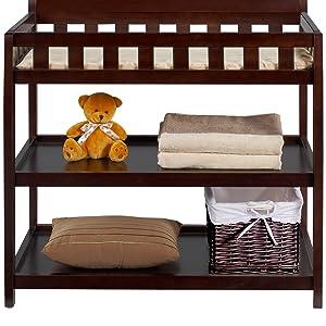 delta children bentley changing table nursery furniture baby storage dressing two open shelves