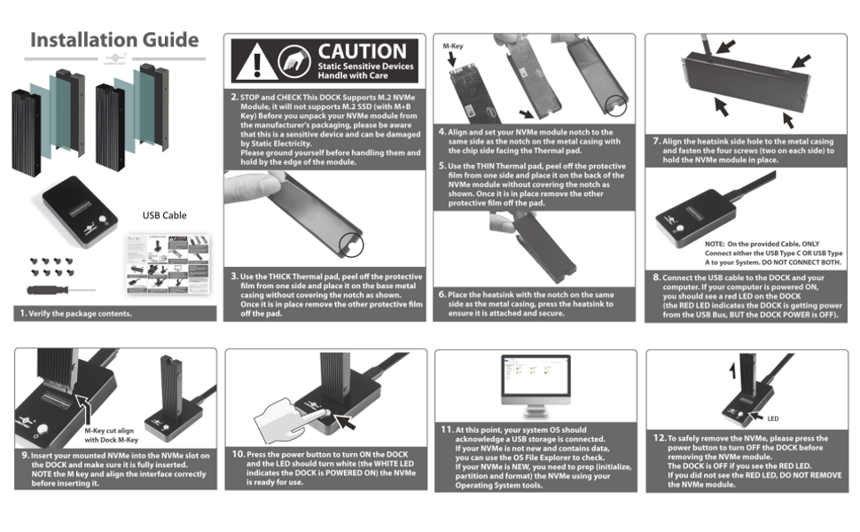 NexStar SX USB 3.1 Gen 2 Type C M.2 NVMe SSD Dock NST-D208C3-BK