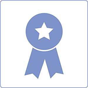 Graphic of a light purple award badge with white star at the center of badge