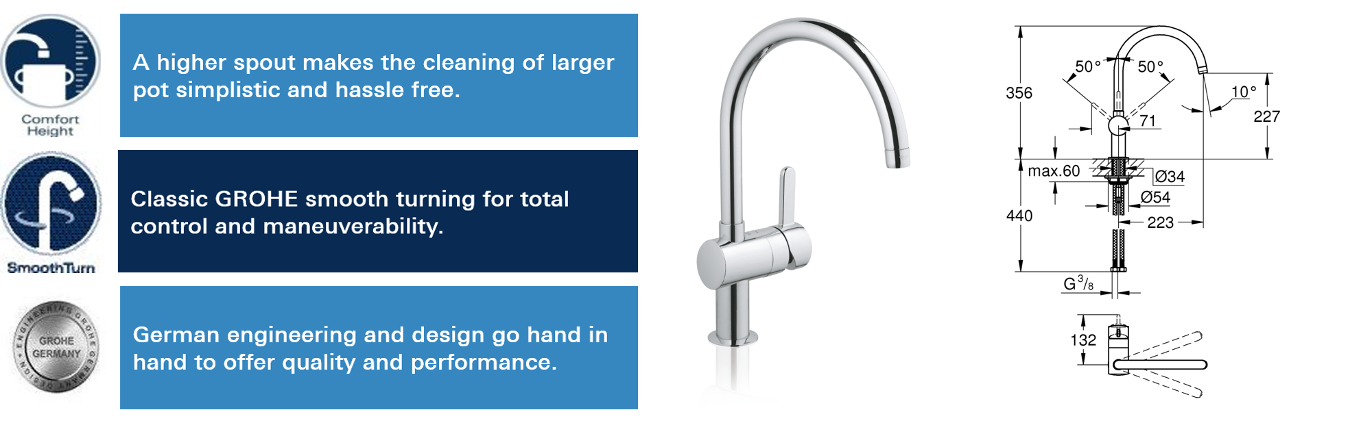GROHE 32452000   Flair Kitchen Tap: Amazon.co.uk: DIY & Tools