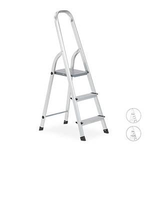 relaxdays Escalera Plegable Aluminio, Antideslizante, Doméstica, hasta 150 kg, 3 Peldaños, Plateado, 119 x 41 x 57 cm: Amazon.es: Hogar