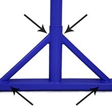 arrows showing off welded supports