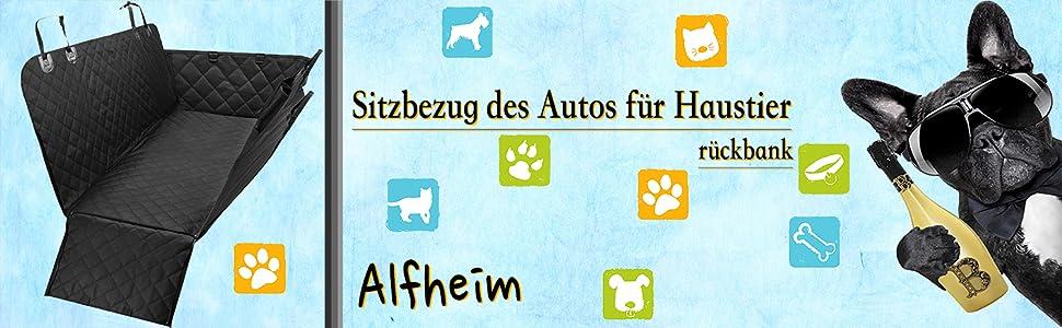 Alfheim Autositzbezug Für Haustiere Verschleißfest Mit Anker Rutschfester Gummibodenbezug Schwarz Haustier