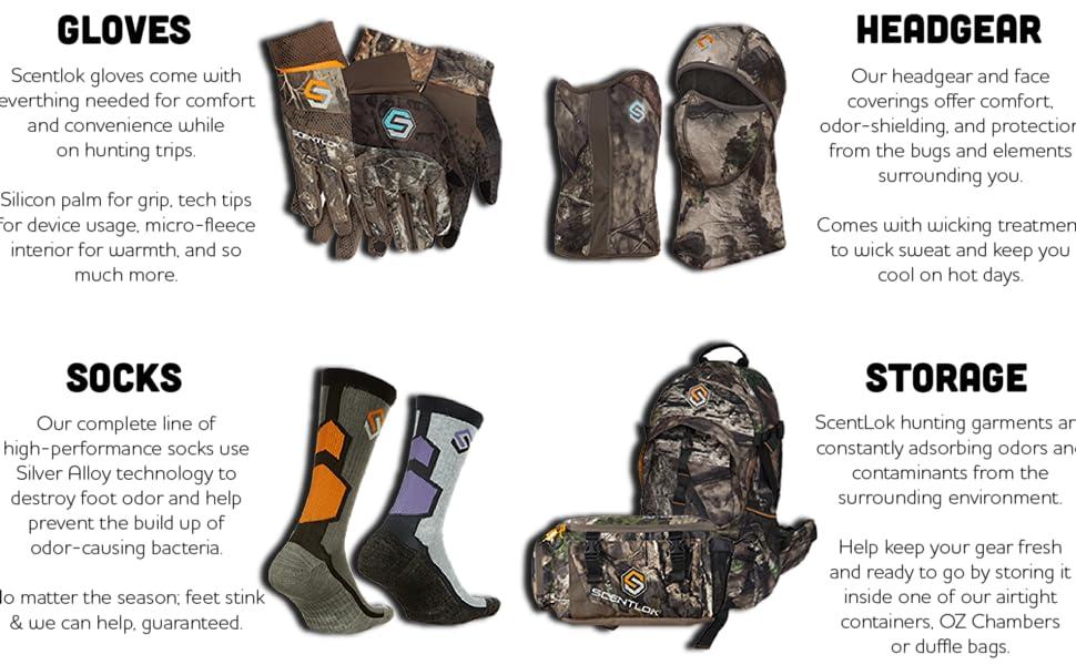 accessories, socks, gloves, hunting, scentlok