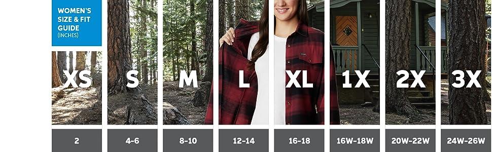 Women's Flannel Shirt Sizing