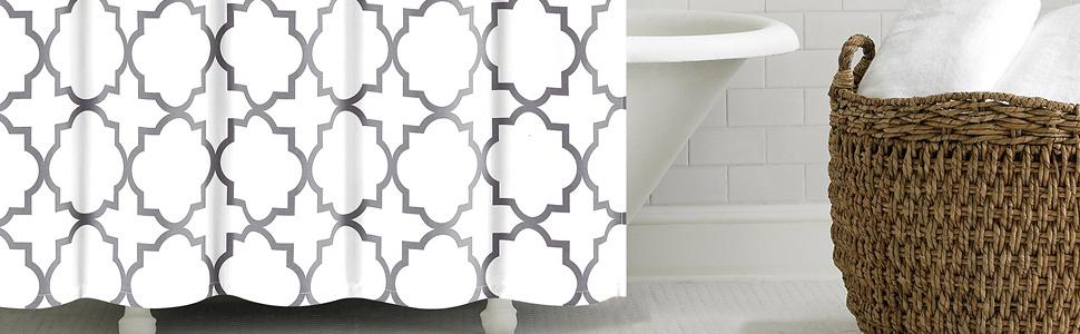 Zinc QUA SC ZIN Echelon Home Quatrefoil Shower Curtain