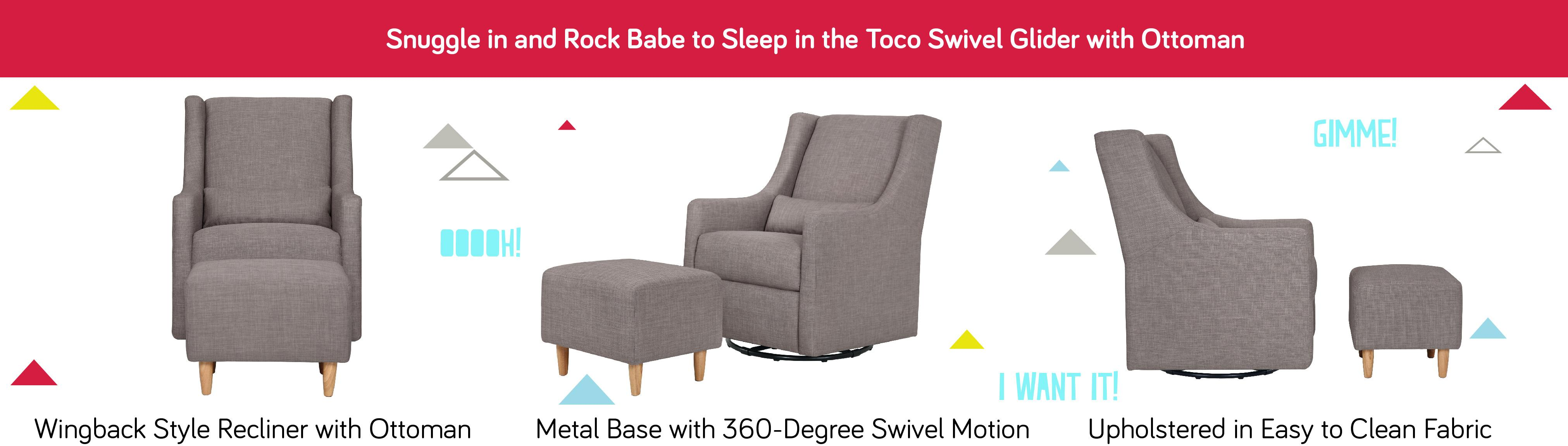Babyletto Toco Swivel Glider And Stationary Ottoman Grey
